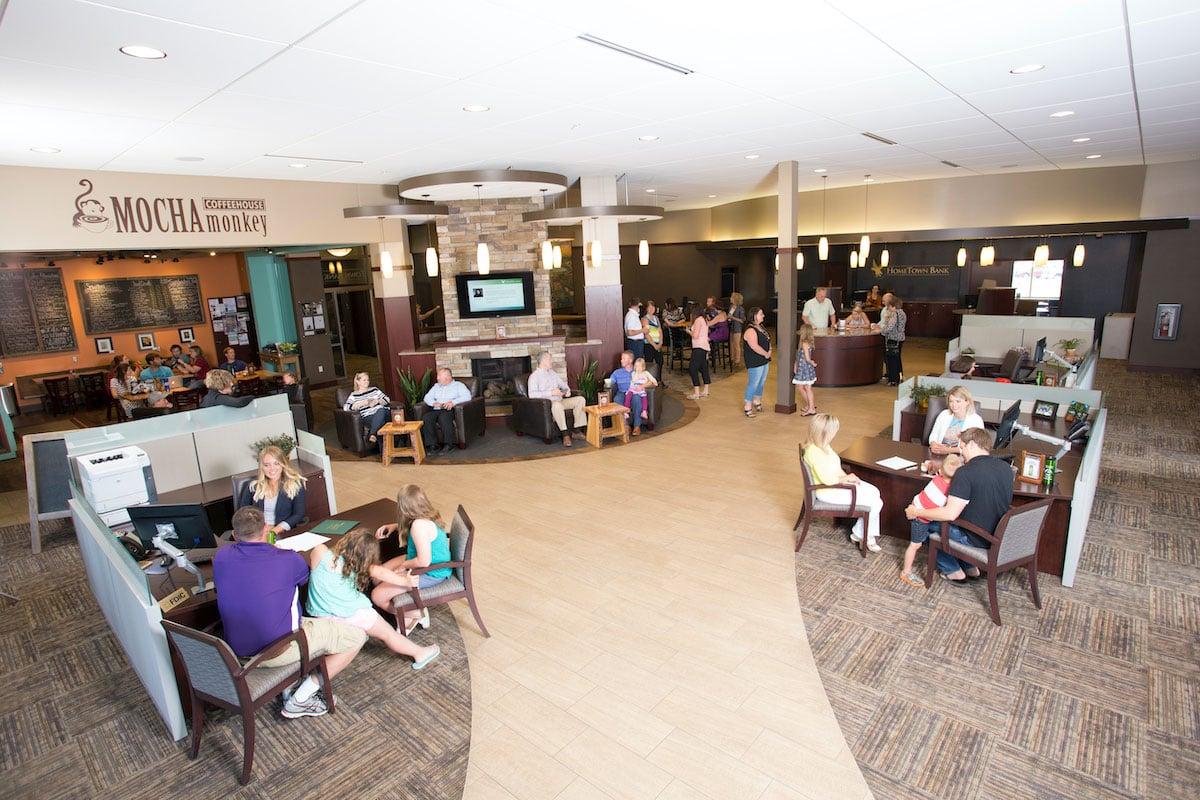 HomeTown Bankin Waconia, Minnesota, and Mocha Monkey, the local coffee shop.