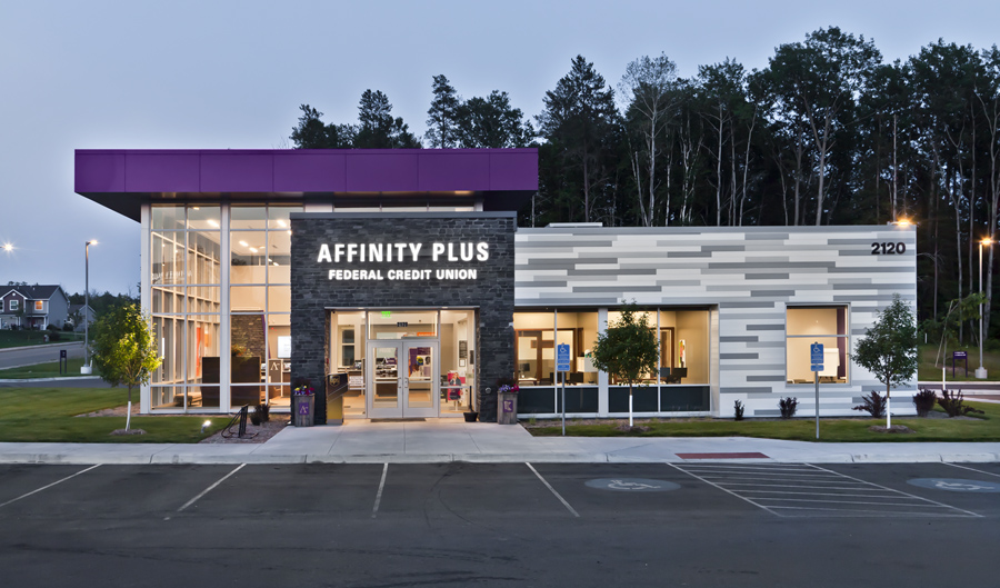 Affinity Plus Federal Credit Union, Grand Rapids MN - Evening Exterior
