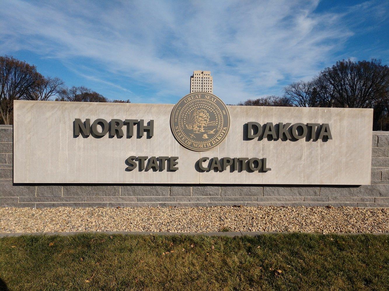 North Dakota State Capital, Signage Front Close Up